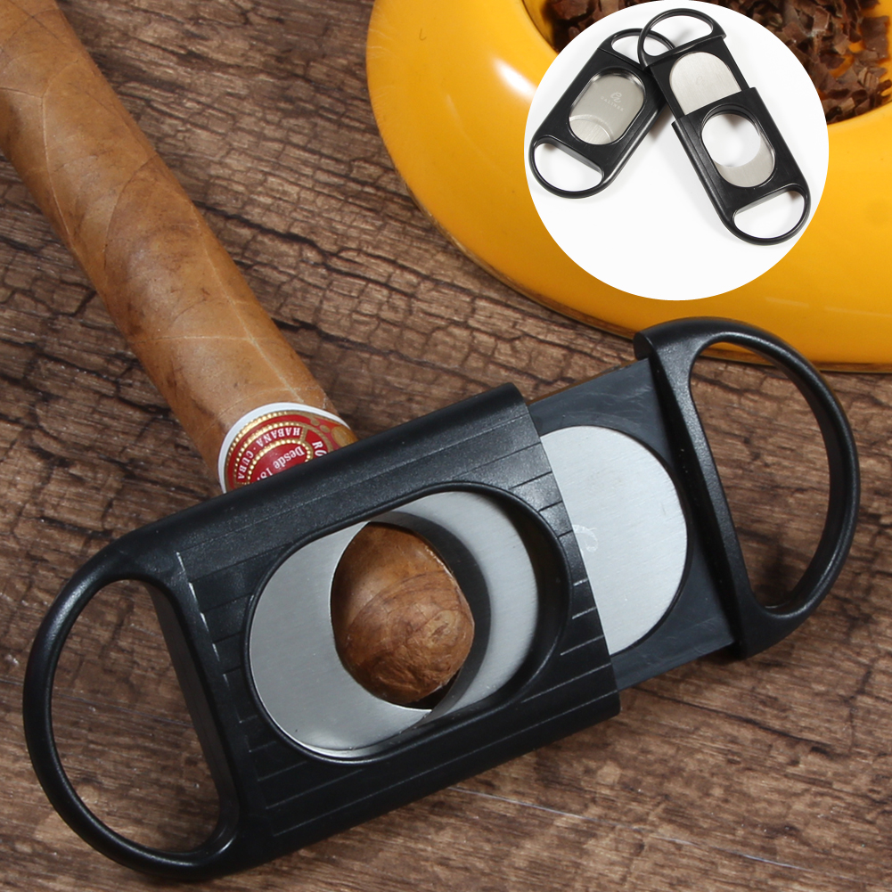 Plastic Cigar Cutter Pocket Double Blades Stainless Steel Scissors Cutter For Cigar Accessories