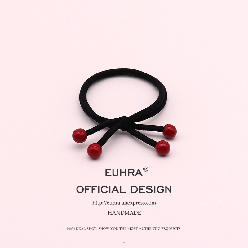 EUHRA 1Piece Free Shipping Red Beads Basic Style For Women Elastic Hair Bands Kid Children Rubber High Elasticity