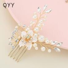 Qyy модные цветы Хрустальный гребень для волос с жемчугами заколки