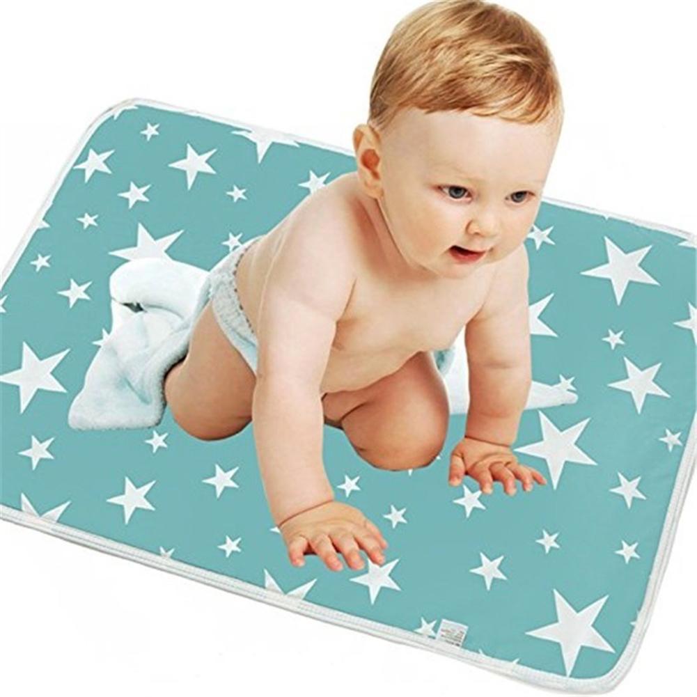 Newborn Baby Changing Mat Star Duck Print Water Absorbent Infant Baby Crib Changing Mat Cotton Waterproof Reusable Diaper