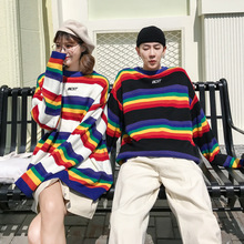 Sweater Men Rainbow Striped Hit Color Mens Pullover Loose High Street Sweaters Fashion Knitted Male Couple Sweaters Streetwear цена