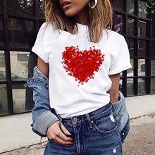 Les femmes Aiment T-shirt D'été Décontracté Hauts Coréen Harajuku Style Graphique Hauts Blusas Mujer Manga Corta Blanc Femme T-shirt