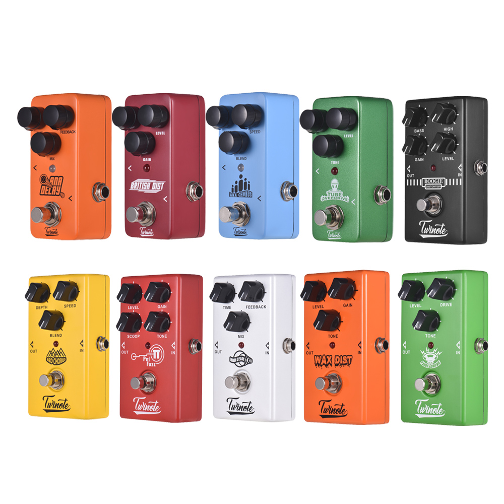 Twinote Electric Guitar Pedal Overdrive Vintage Distortion High Gain Simulator Chorus Digital Delay Effects Guitar Accessories
