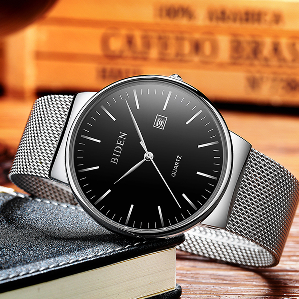 Man Ultra Thin Wriswatch Luxury Brand Mens Fashion Quartz Watches Stainless Steel Waterproof Male Watch Clock Relogio Masculino
