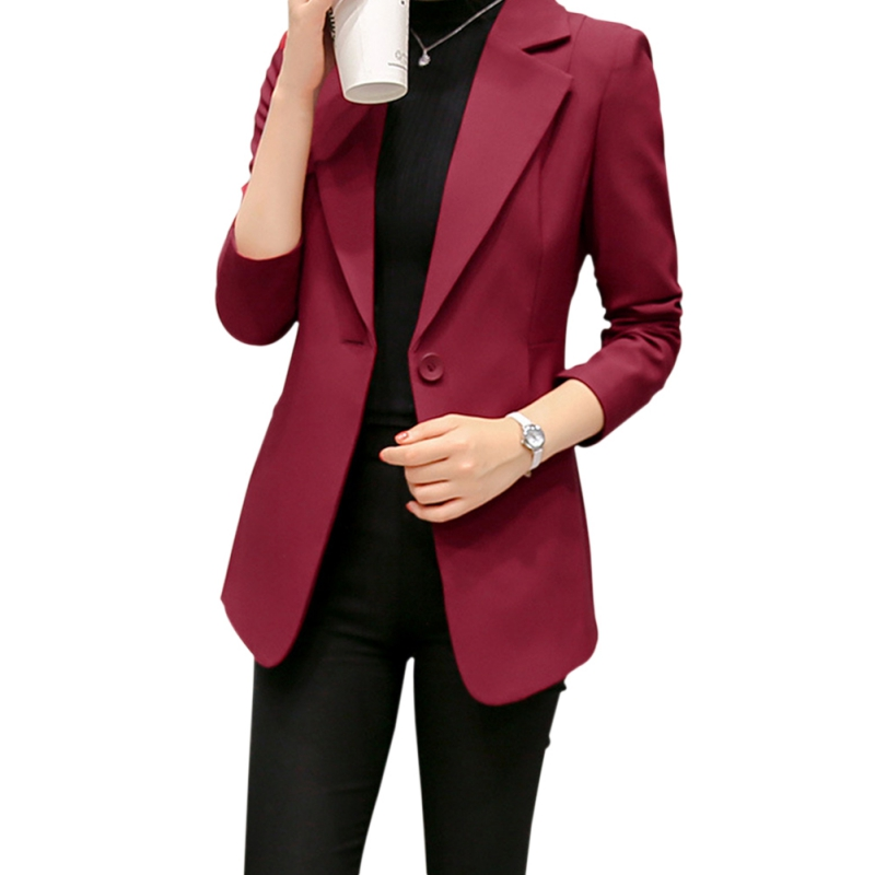 2019 New Spring Autumn Lady Fashion Wine Red And Black Coat Formal Office Single Button Cardigan Women Blazer Jackets