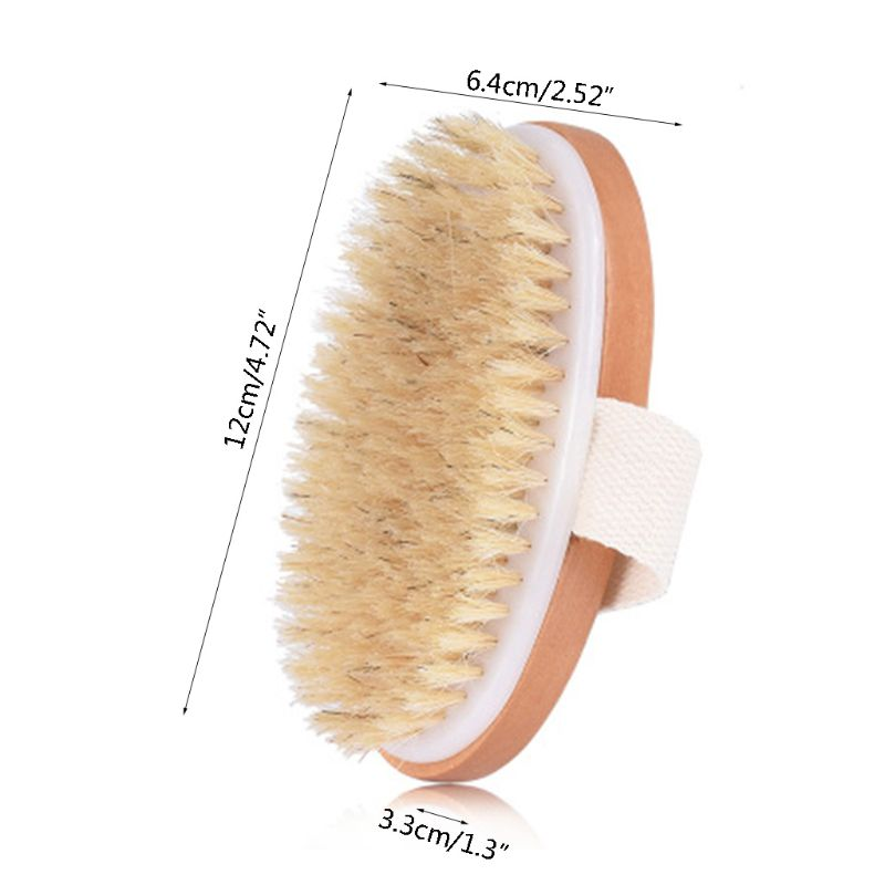 Natural Boar Bristles Dry Body Brush Wooden Oval Shower Bath Brushes Exfoliating Massage Cellulite Treatment Blood Circulation