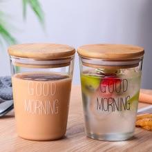 2Pcs Goede Ochtend Glas Ontbijt Cup Japanse Stijl Eenvoudige Glas Melk Cup Transparant Sap Drinken Beker Met Deksel
