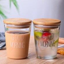 Tasse de petit déjeuner en verre transparent avec couvercle, 2 pièces, style japonais