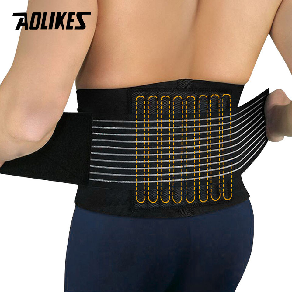 AOLIKES 1PCS Lumbar Support Waist Pain Back Injury Supporting Brace For Fitness Weightlifting Belts Sports Safety Corrector