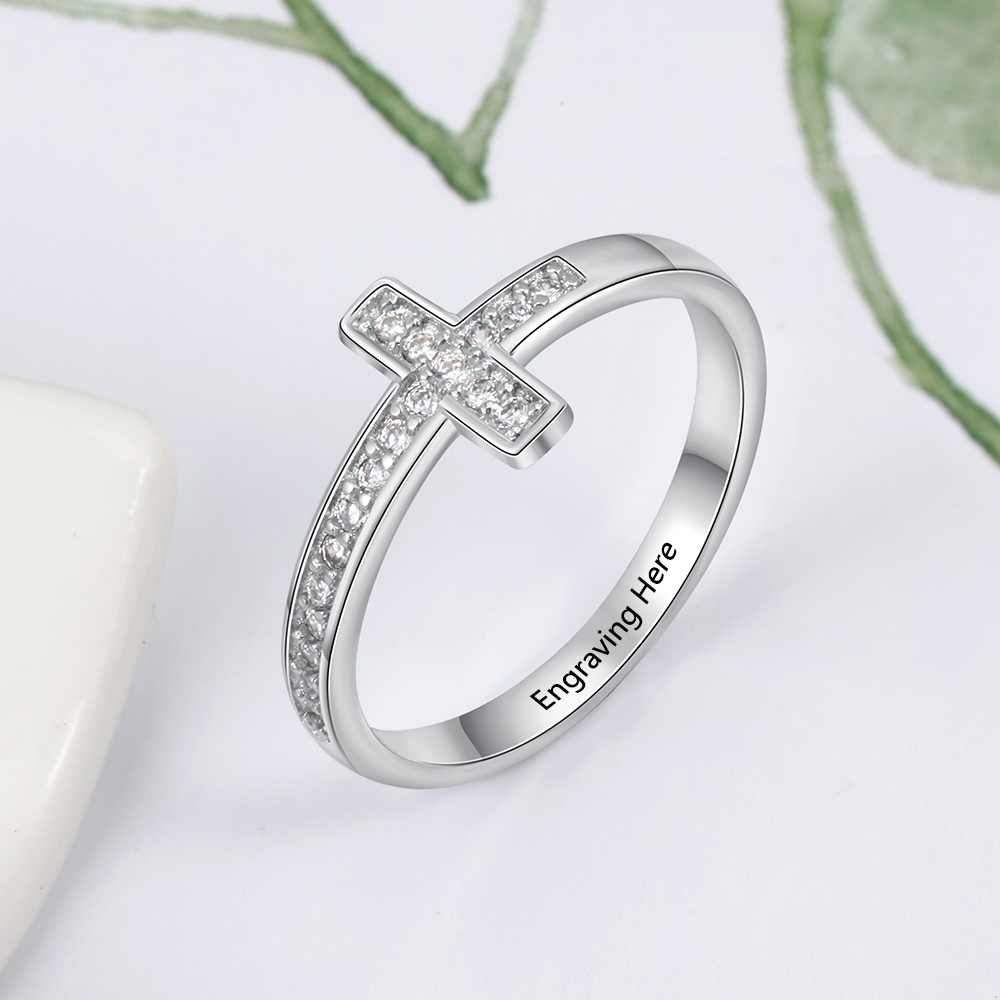 925 Sterling Silver Personalized Cross Sideway Engraved Rings For Women With Cubic Zirconia Custom Names Rings Jewelry Gifts