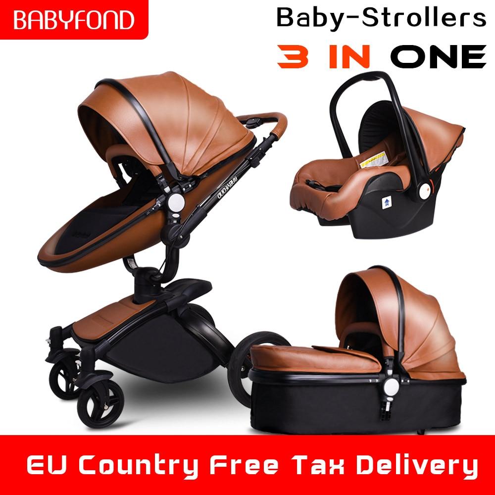 Babyfond High Landscape Stroller Leather Stroller Luxury Baby Stroller 3 In 1 Folding Kinderwagen Newborn Pram Send Free Gifts