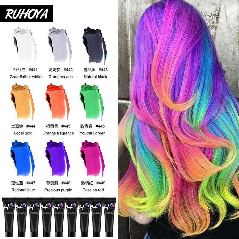 Ruhoya Salon Hair Dye Color Styling Pomade Hair Colour Silver Grandma Grey Natural Hair Strong Gel Cream Hair Dye For Women Men