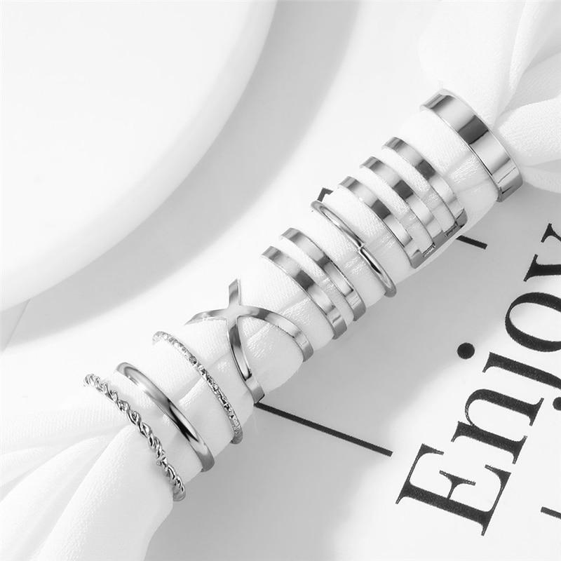 Оригинальный дизайн золотистого цвета, круглые полые геометрические кольца, набор для женщин, модное перекрестное кольцо, Открытое кольцо, женское ювелирное изделие 5