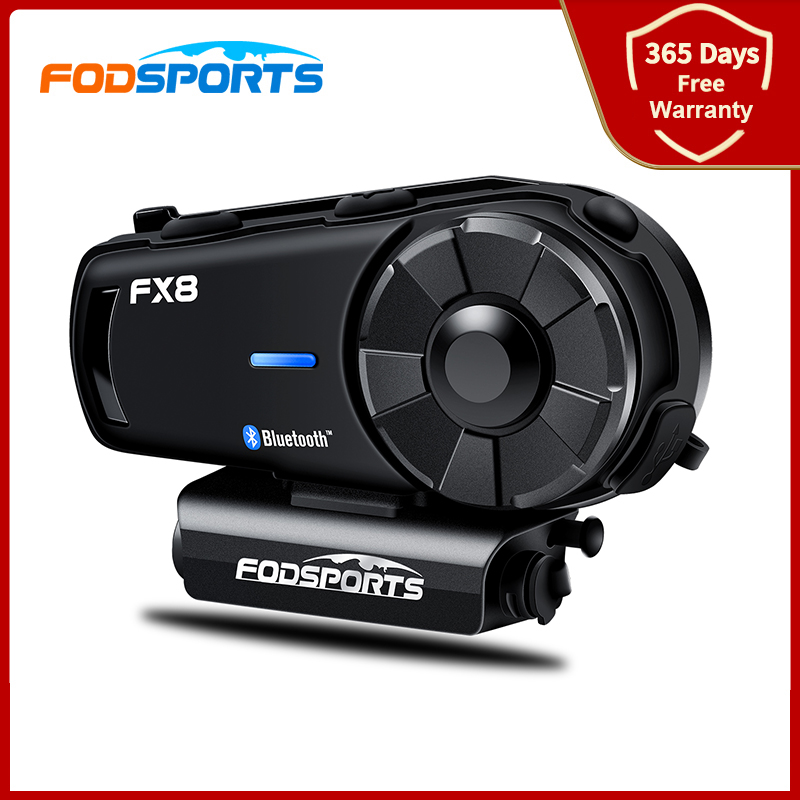 Fodsports Fx8 Intercom Motorcycle Helmet Bluetooth Headset Waterproof FM Radio 8 Riders 1000M BT Intercomunicador HD Stereo