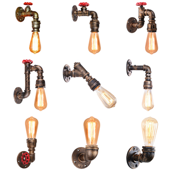 American Vintage Wall Lamps Single-Head Bedside Lamp Industrial Home Wall Lights Retro Iron Rust Water Pipe Light Sconce Decor vintage wall lamp industrial retro wall light creative water pipe wall sconce iron metal lamps for restaurant cafe bar kitchen