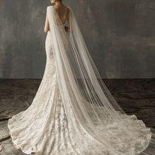 נשים טול קתדרלת רצפת אורך חתונה שכמיות כתף חיקוי קריסטל תכשיטי פרחוני אפליקציות כלה ארוך כורכת גלימה