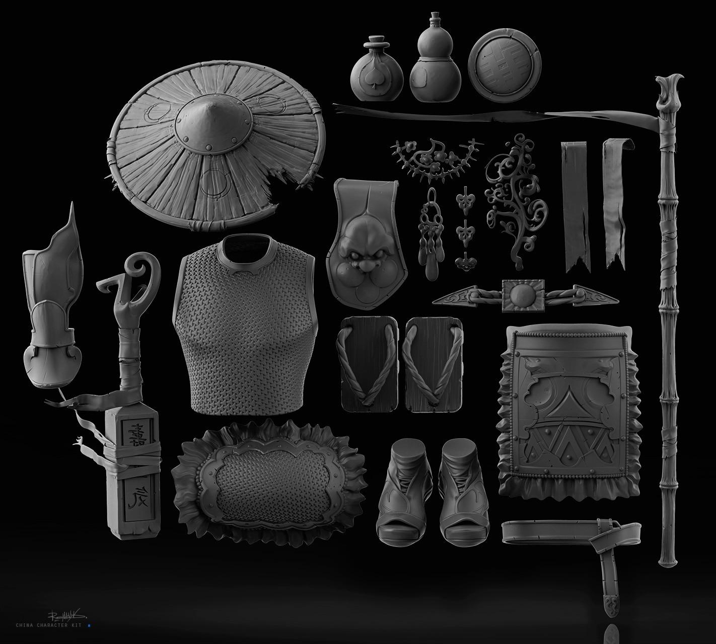 C4D中国元素古代建筑人物服饰龙狮动物游戏3D模型
