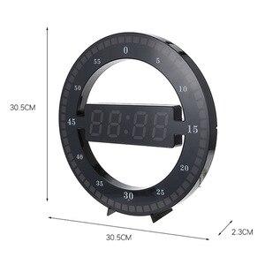 Image 2 - Relógio eletrônico 3d oco led digital ajuste automático brilho redondo casa relógio de parede com plugue dos eua plástico preto