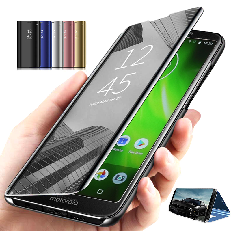 cover for motorola moto <font><b>g6</b></font> play xt1922-<font><b>1</b></font>/2/3/4/5/10 5.7'' case cover flip magnetic clear view mirror stand coque on g6play capas image