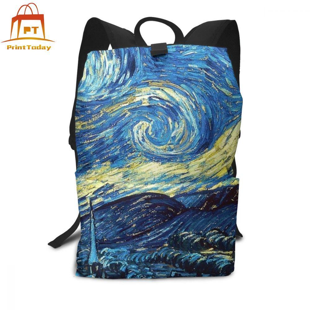 Van Gogh Starry Night Backpack Van Gogh Starry Night Backpacks Men - Women Print Bag High Quality Street Bags
