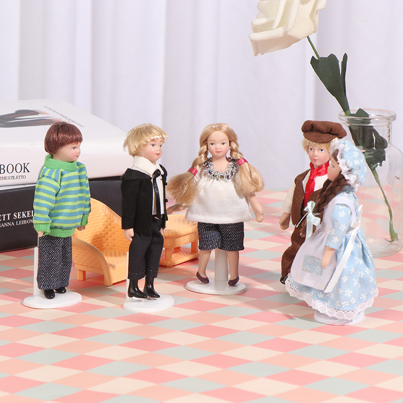 1:12 puppenhaus schöne Miniatur Porzellan Puppen Modell Kleine Hübsche Mädchen Jungen
