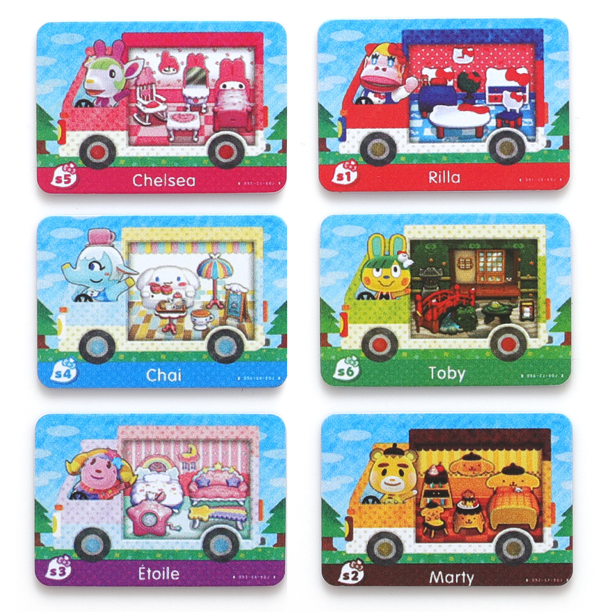 For ACNH Sanr1o Mini Card, 6 pcs RV Villager Furniture Compatible with Sw1tch/Sw1tch Lite/New 3DS(S1-S6