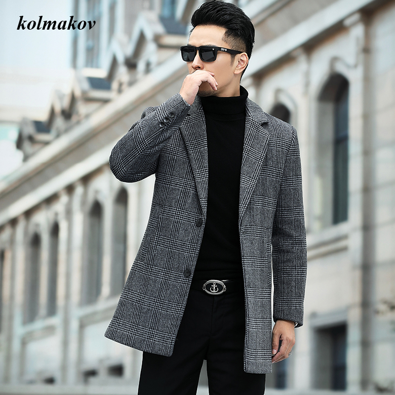 New Arrival Autumn and Winter Style Men Boutique Woolen Coat High Quality Plaid Wollen Trench Men's Leisure Woolen Blends M-4XL
