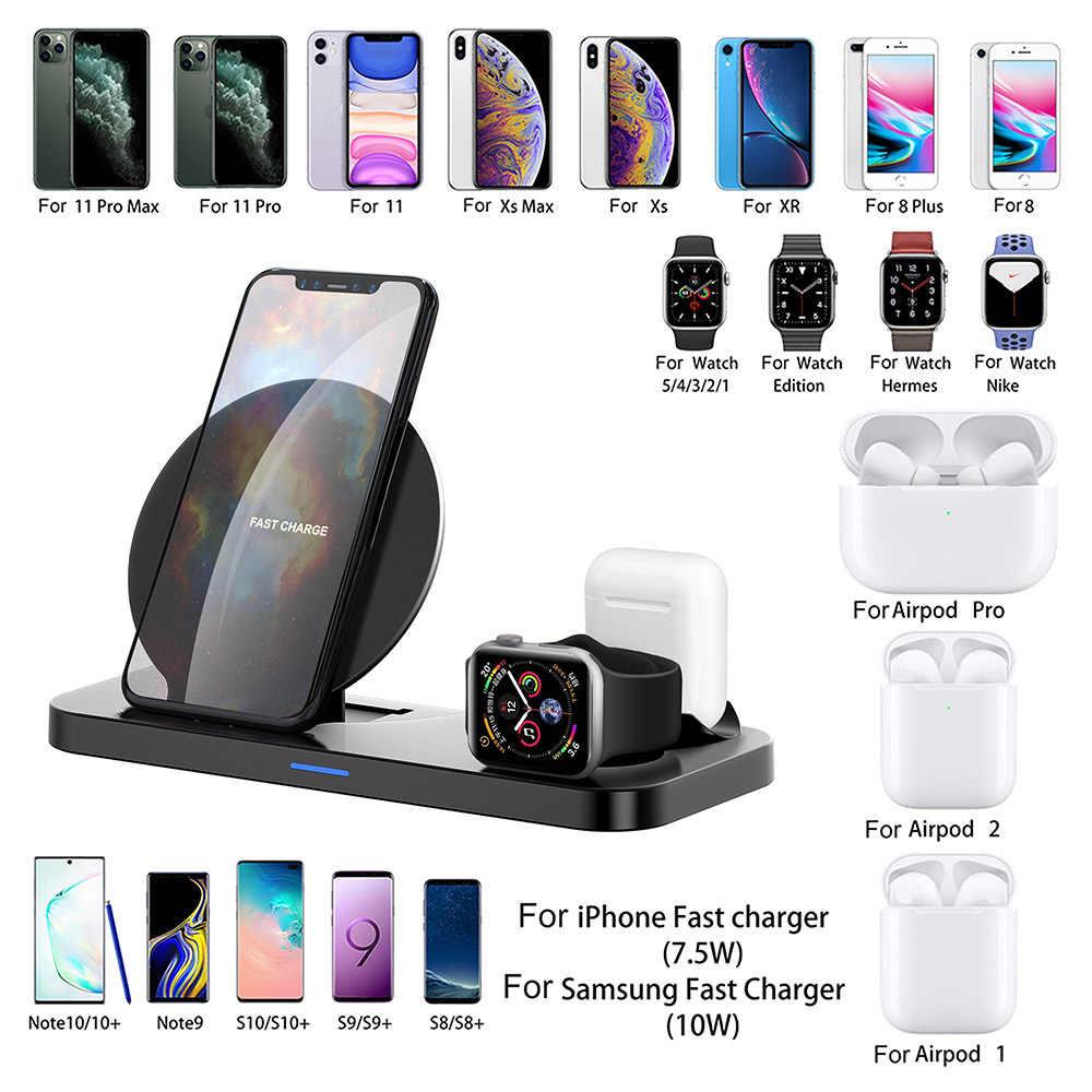 3 ב 1 צ 'י 10W אלחוטי מטען עבור iPhone 11 X XR 8 בתוספת Samsung S20 S10 מהיר טעינה stand עבור אפל שעון 5 4 3 2 AirPods פרו