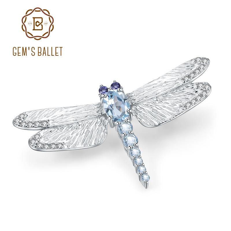 GEM'S BALLET 1.41Ct Natural Sky Blue Topaz Brooch 925 Sterling Sliver Handmade Design Dragonfly Brooches For Women Fine Jewelry