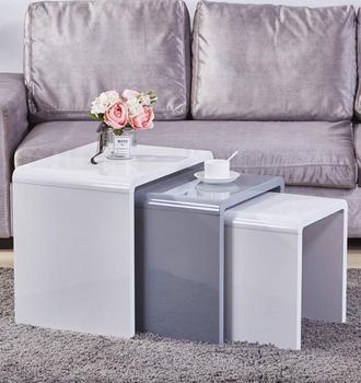 Gniazdo 3 stoliki do kawy nowoczesne stoły do zagnieżdżania z białego połysku wielofunkcyjne małe stoliki z drewna do salonu tanie i dobre opinie CN (pochodzenie) Meble do domu Meble do salonu