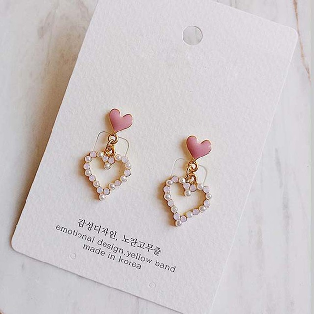 Valentine\u2019s Day Collection Hypoallergenic Dainty Resin Earrings Cute Heart Shape Resin Jewelry Pink and Light Blue Color Dangle Earring