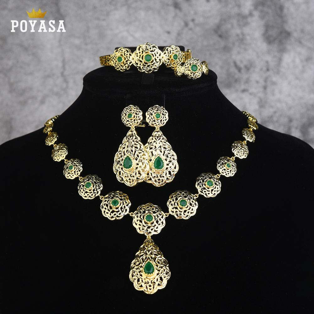 Jewelry-Set Green-Stone Caftan Moroccan Copper Wedding-Gold Fashion High-Quality Women