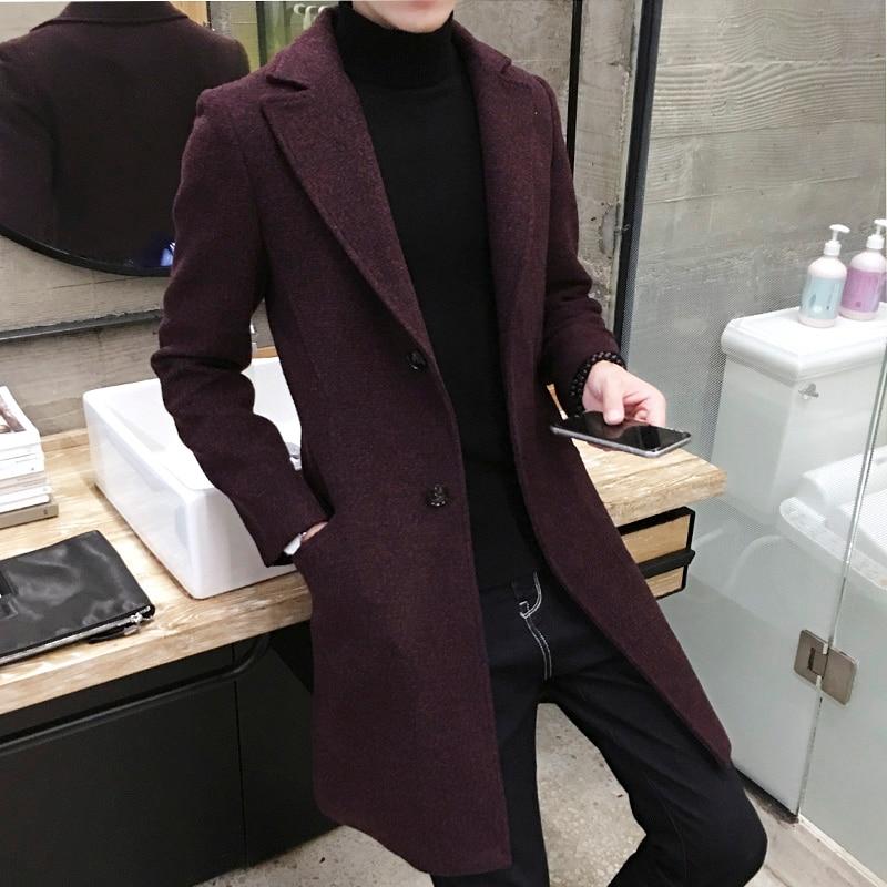 2020 Autumn Wool Blend Men's Woollen Coat Winter Men Trench Coat Fashion Brand Clothing Warm Woolen Overcoat Male size M-5XL