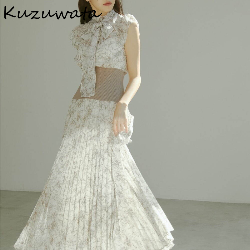 Kuzuwata Japanese Half High Collar Little Flying Sleeve Print Screw Thread Splicing Empire Dresses 2021 Spring Woman Clothing