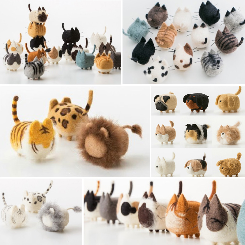 Jiwuo Wool Felt Animals Dog Puppy Handmade Felt Craft Poked Set Wool Needle Felting Kit Handmade Non-finished Dog Accessories