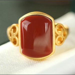 SNew Silver South Red Agate Jade Palace Retro Big Hollow Auspicious Cloud Edge Temperament Cold Wind Women's Ring