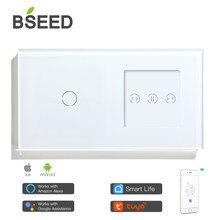 Bseed wifi switch 1 gang com cortina interruptor wi fi inteligente interruptor de cor branca suporte para tuya google assistente app para casa