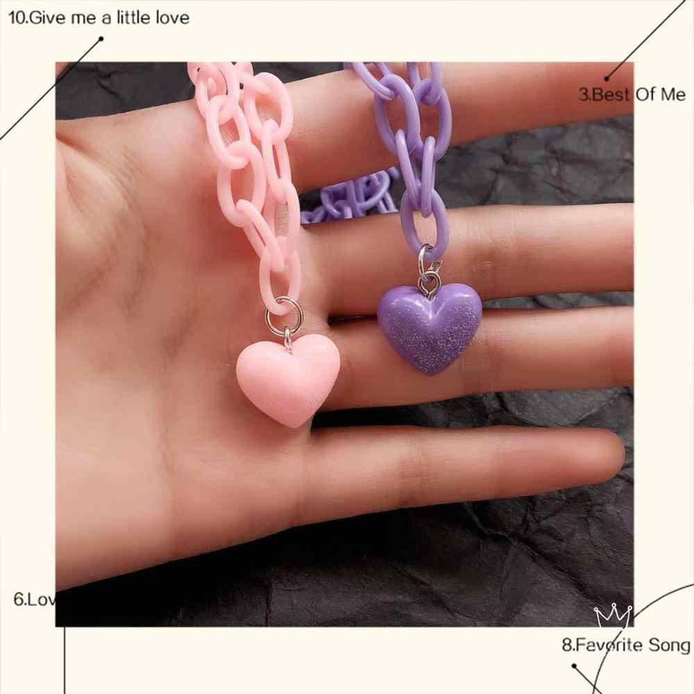 Hiphop Harajuku Heart Pendant Acrylic Necklace Macarons Chokers Gifts for women collier femme accesories personality Party jewel