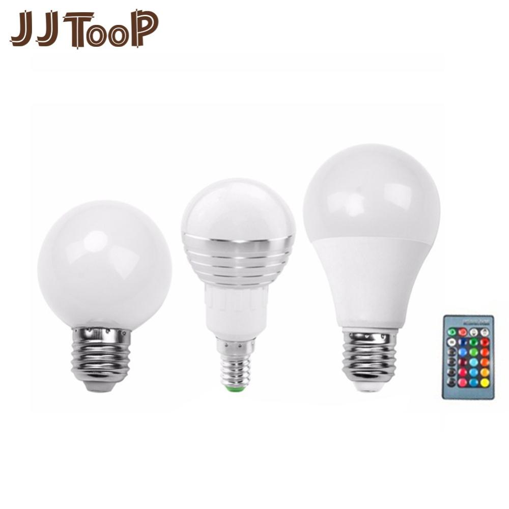 E27 E14 RGB LED Bulb Remote Control Lamp Color Magic Spot Light 3W 5W 10W  Dimmable 24key LED Night Light 110V 220V Holiday Bar