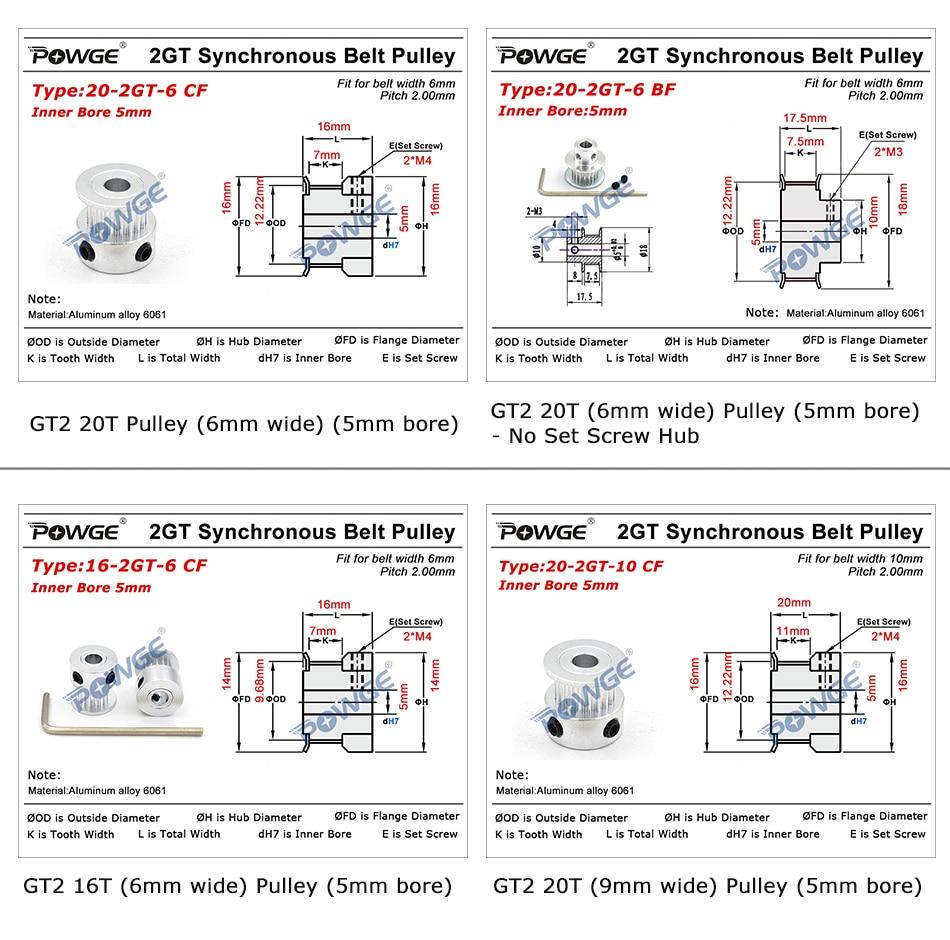 POWGE VORON V2.2 ensemble de pièces de mouvement GT2 LL-2GT RF courroie de distribution ouverte 2GT 16T 20T poulie portes 110-2GT/188-2GT arbre en boucle fermée - 3