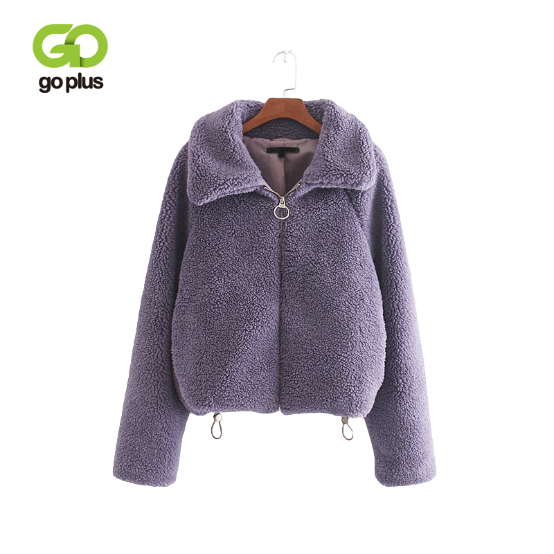 GOPLUS Turn-down Collar Lamb Wool Coats Women Winter Thick Outwear Faux Fur and Jackets Ladies Short Fluffy C9580