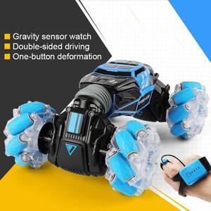Image 2 - 4WD samochód kaskaderski zdalnie sterowany zegarek sterowanie gest indukcyjny odkształcalny elektryczny RC samochód do driftu transformator samochody zabawkowe dla dzieci z oświetleniem LED