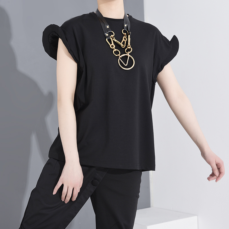 [EAM] Women Black Shaped Split Jooint Big Size T-shirt New Round Neck Short Sleeve Fashion Tide  Spring Summer 2020 1S68301 2