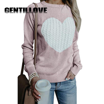 Casual Autumn Winter Pullover Long Sleeve O Neck Heart Knitted Women Sweaters Slim Pull Femme Jumpers 3XL Size Loose Sweater