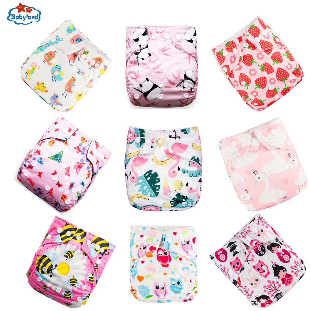 Fralda Ecologica Babyland 9pcs/set Washable Eco-Friendly Cloth Diaper Cover Adjustable Nappy Reusable Cloth Diapers Pocket Nappy