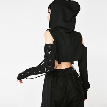 Goth Cropped Hoodie Women's Clothing & Accessories Tops & Tees Camis & Tops T-Shirts cb5feb1b7314637725a2e7: Black