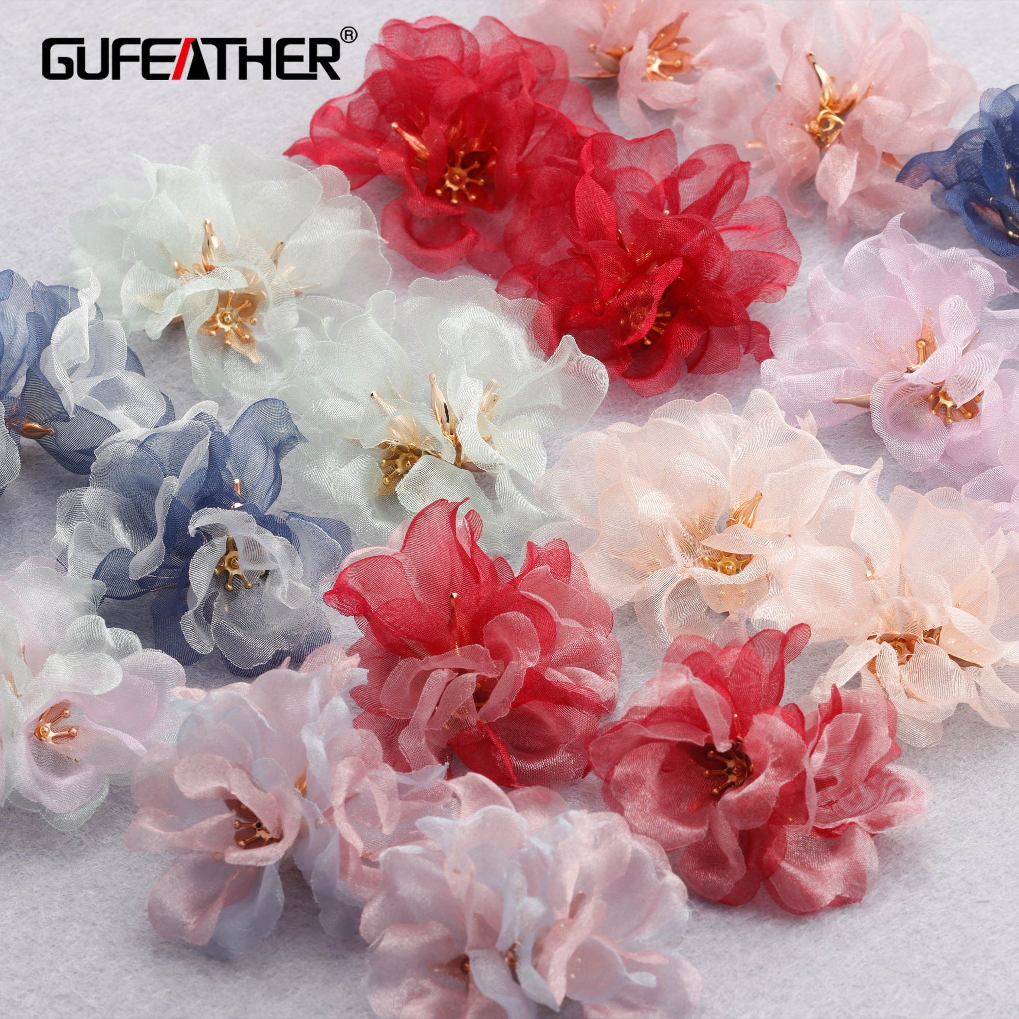 Gufeather m850, acessórios de jóias, pingentes diy, forma de flor, encantos, feitos à mão, metal de cobre, jóias fazendo, brincos diy, 6 pçs/lote