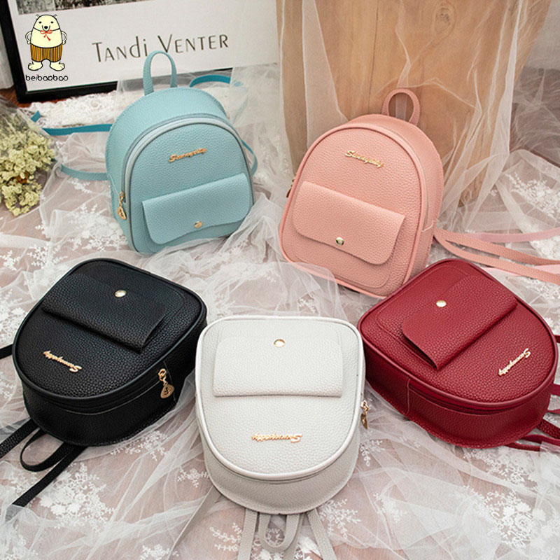Beibaobao 2019 PU Leather Shoulder Mini Small  Backpack Women Teenage Girls Kids Multi-Function Female Ladies Phone Pouch Pack