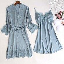 MECHCITIZ шелковый халат и платье, комплект, сексуальная одежда для сна, женское нижнее белье, летняя Пижама, кружевной халат, комплект для сна, домашняя пижама