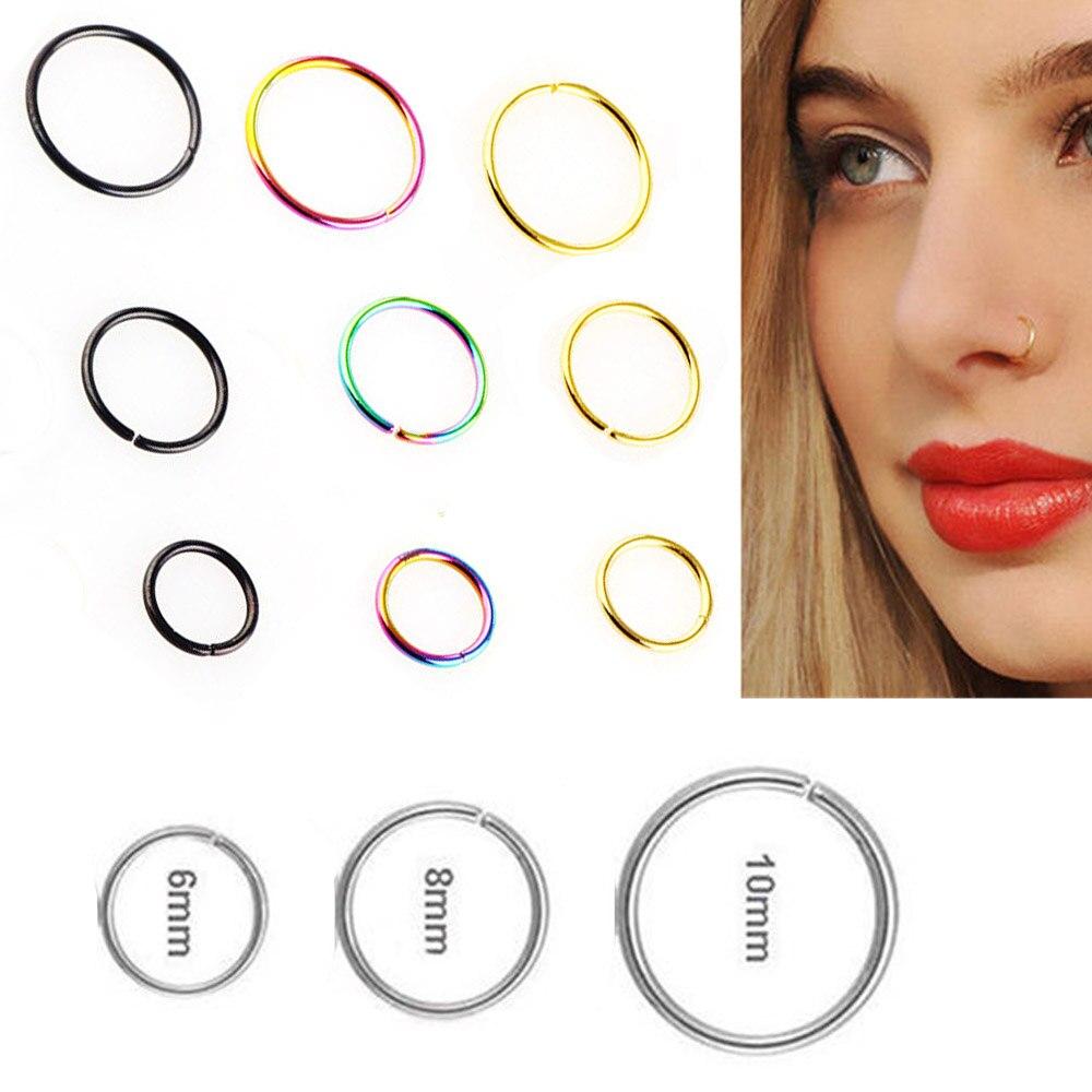 9pcs Fake Nose Ring Septum Ear Lip Ring Hoop Cartilage Small